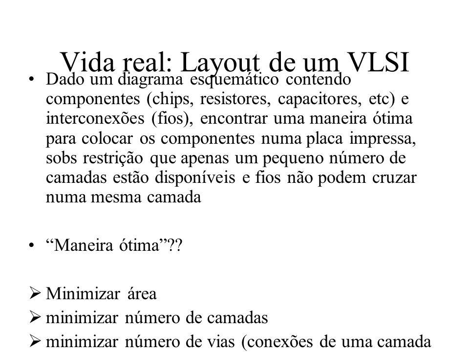 Vida real: Layout de um VLSI Dado um diagrama esquemático contendo componentes (chips, resistores, capacitores, etc) e interconexões (fios), encontrar