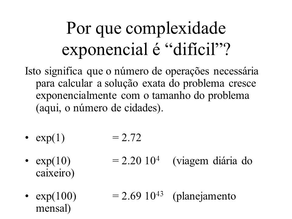 Por que complexidade exponencial é difícil? Isto significa que o número de operações necessária para calcular a solução exata do problema cresce expon