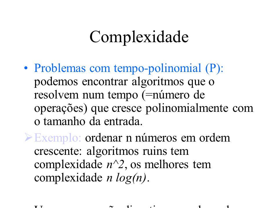 Complexidade Problemas com tempo-polinomial (P): podemos encontrar algoritmos que o resolvem num tempo (=número de operações) que cresce polinomialmen