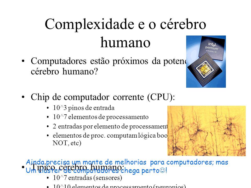 Complexidade e o cérebro humano Computadores estão próximos da potencia do cérebro humano? Chip de computador corrente (CPU): 10^3 pinos de entrada 10