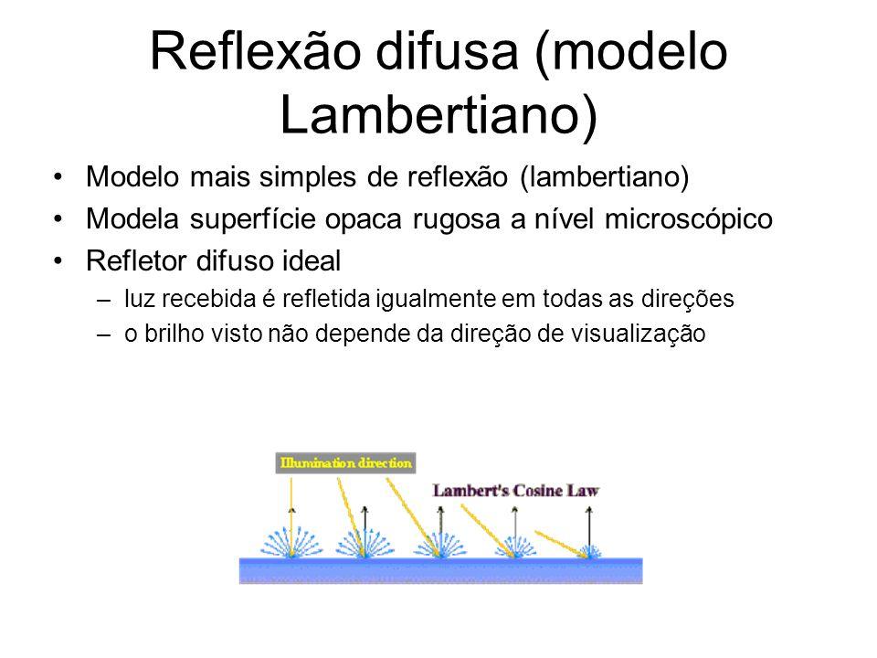 Reflexão difusa (modelo Lambertiano) Modelo mais simples de reflexão (lambertiano) Modela superfície opaca rugosa a nível microscópico Refletor difuso