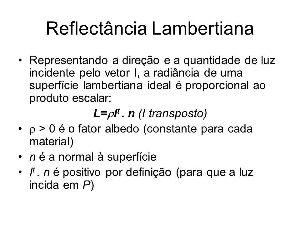 Reflectância Lambertiana Representando a direção e a quantidade de luz incidente pelo vetor I, a radiância de uma superfície lambertiana ideal é propo