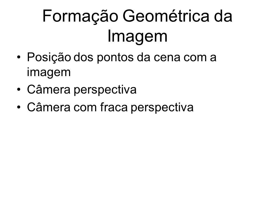 Formação Geométrica da Imagem Posição dos pontos da cena com a imagem Câmera perspectiva Câmera com fraca perspectiva