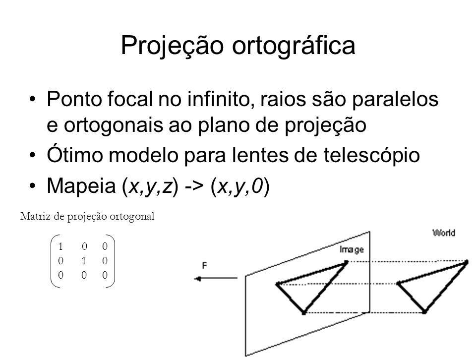 Projeção ortográfica Ponto focal no infinito, raios são paralelos e ortogonais ao plano de projeção Ótimo modelo para lentes de telescópio Mapeia (x,y