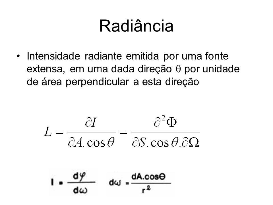 Radiância Intensidade radiante emitida por uma fonte extensa, em uma dada direção por unidade de área perpendicular a esta direção