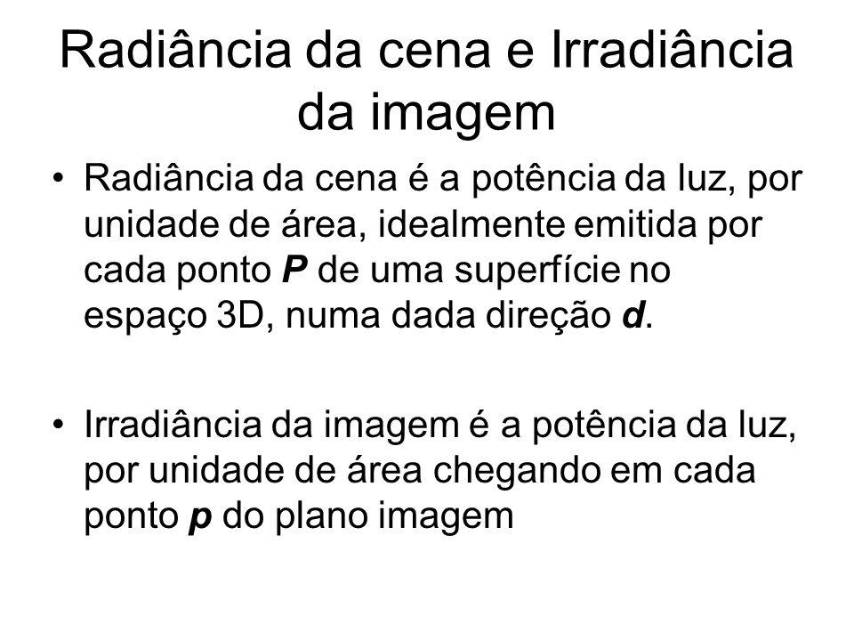 Radiância da cena e Irradiância da imagem Radiância da cena é a potência da luz, por unidade de área, idealmente emitida por cada ponto P de uma super