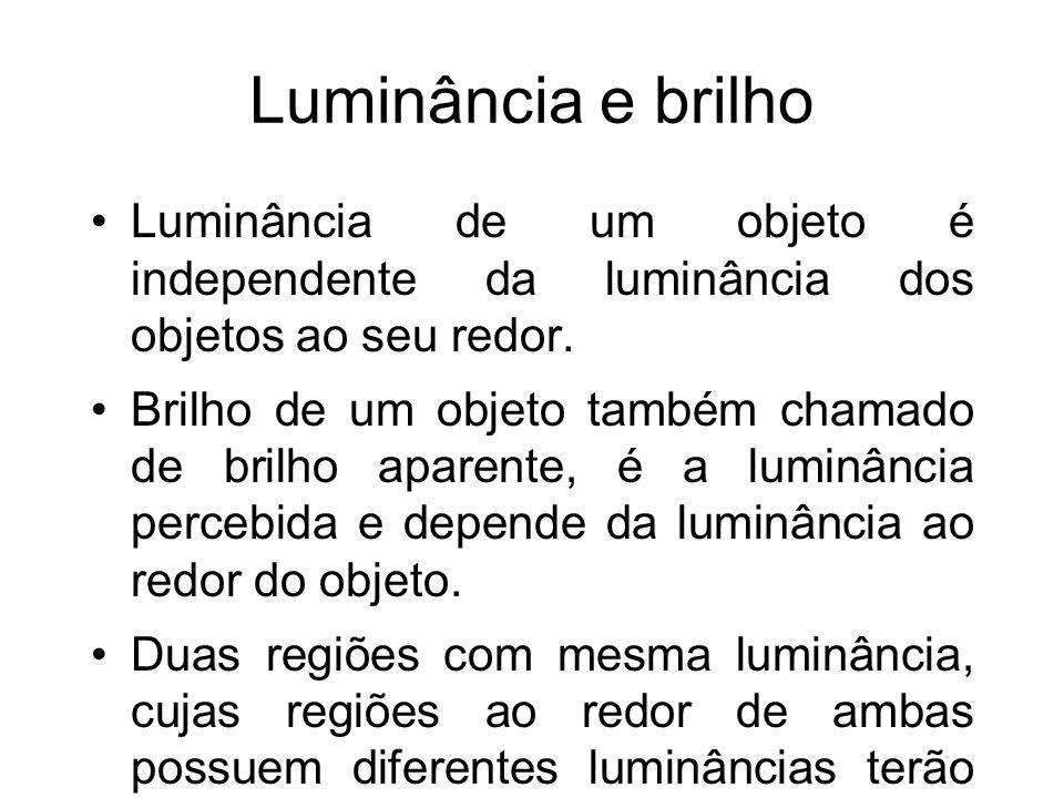 Luminância e brilho Luminância de um objeto é independente da luminância dos objetos ao seu redor. Brilho de um objeto também chamado de brilho aparen