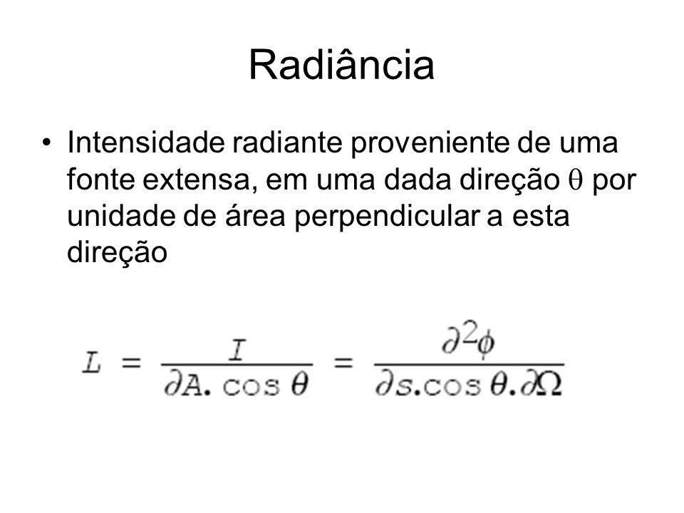 Radiância Intensidade radiante proveniente de uma fonte extensa, em uma dada direção por unidade de área perpendicular a esta direção