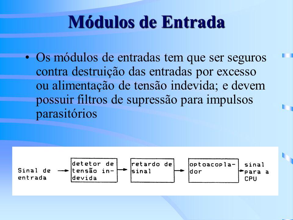 Módulos de Entrada Os módulos de entradas tem que ser seguros contra destruição das entradas por excesso ou alimentação de tensão indevida; e devem po