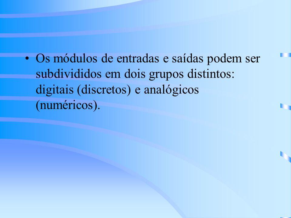 Os módulos de entradas e saídas podem ser subdivididos em dois grupos distintos: digitais (discretos) e analógicos (numéricos).