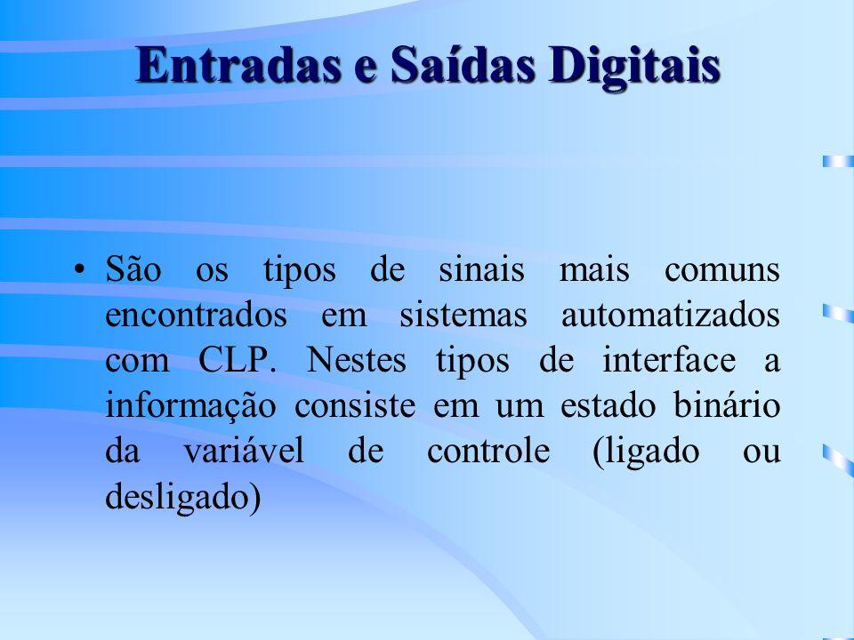 Entradas e Saídas Digitais São os tipos de sinais mais comuns encontrados em sistemas automatizados com CLP. Nestes tipos de interface a informação co