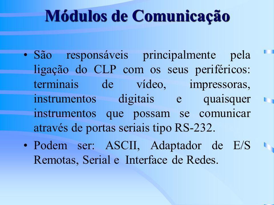 Módulos de Comunicação São responsáveis principalmente pela ligação do CLP com os seus periféricos: terminais de vídeo, impressoras, instrumentos digi