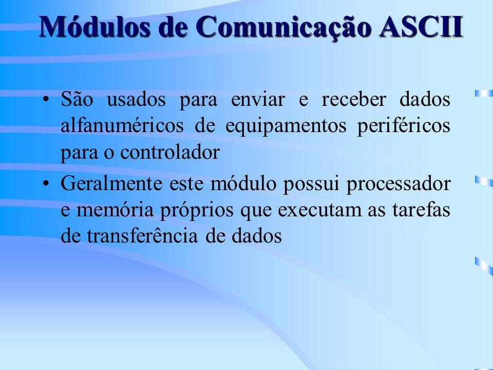 Módulos de Comunicação ASCII São usados para enviar e receber dados alfanuméricos de equipamentos periféricos para o controlador Geralmente este módul