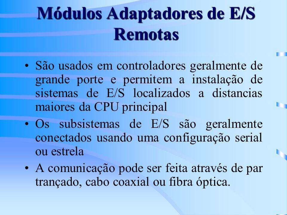 Módulos Adaptadores de E/S Remotas São usados em controladores geralmente de grande porte e permitem a instalação de sistemas de E/S localizados a dis