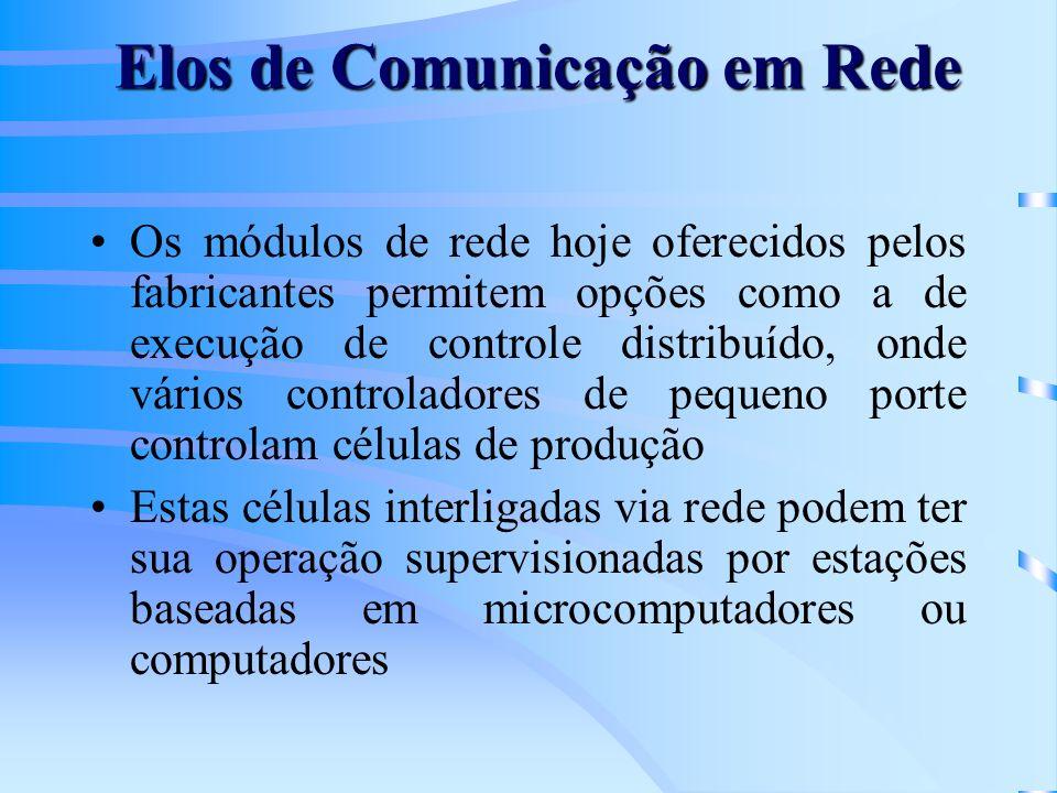 Elos de Comunicação em Rede Os módulos de rede hoje oferecidos pelos fabricantes permitem opções como a de execução de controle distribuído, onde vári