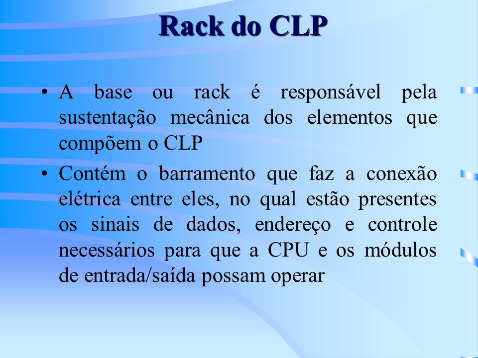 Rack do CLP A base ou rack é responsável pela sustentação mecânica dos elementos que compõem o CLP Contém o barramento que faz a conexão elétrica entr