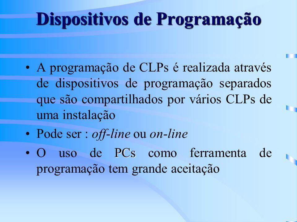 Dispositivos de Programação A programação de CLPs é realizada através de dispositivos de programação separados que são compartilhados por vários CLPs
