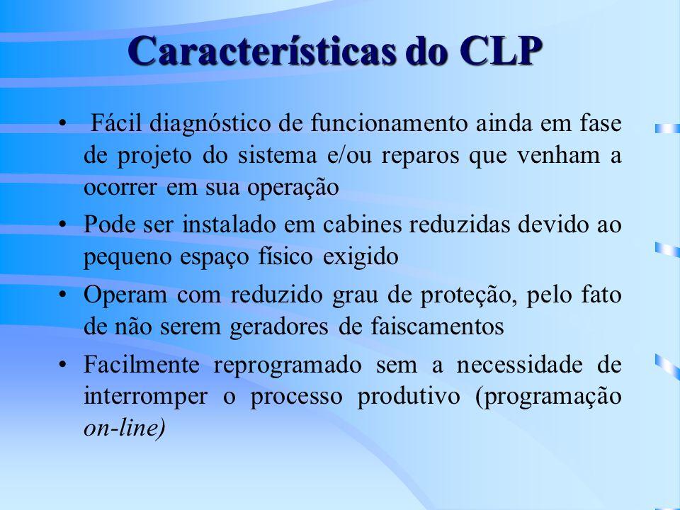 Características do CLP Fácil diagnóstico de funcionamento ainda em fase de projeto do sistema e/ou reparos que venham a ocorrer em sua operação Pode s