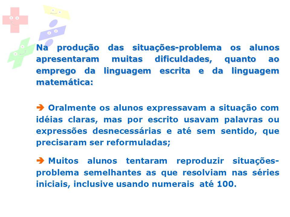 Na produção das situações-problema os alunos apresentaram muitas dificuldades, quanto ao emprego da linguagem escrita e da linguagem matemática: Oralm