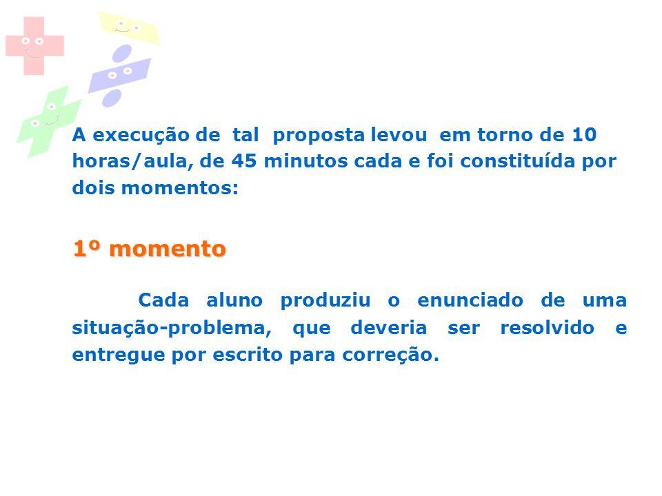 1º momento A execução de tal proposta levou em torno de 10 horas/aula, de 45 minutos cada e foi constituída por dois momentos: 1º momento Cada aluno p