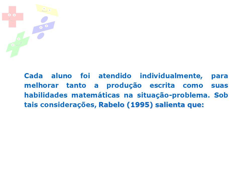 Rabelo (1995) salienta que: Cada aluno foi atendido individualmente, para melhorar tanto a produção escrita como suas habilidades matemáticas na situa