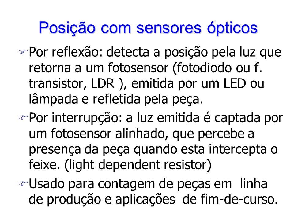 Posição com sensores ópticos F Por reflexão: detecta a posição pela luz que retorna a um fotosensor (fotodiodo ou f. transistor, LDR ), emitida por um