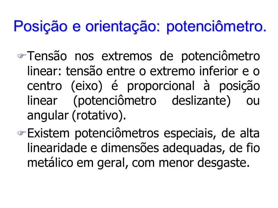 Posição e orientação: potenciômetro. F Tensão nos extremos de potenciômetro linear: tensão entre o extremo inferior e o centro (eixo) é proporcional à