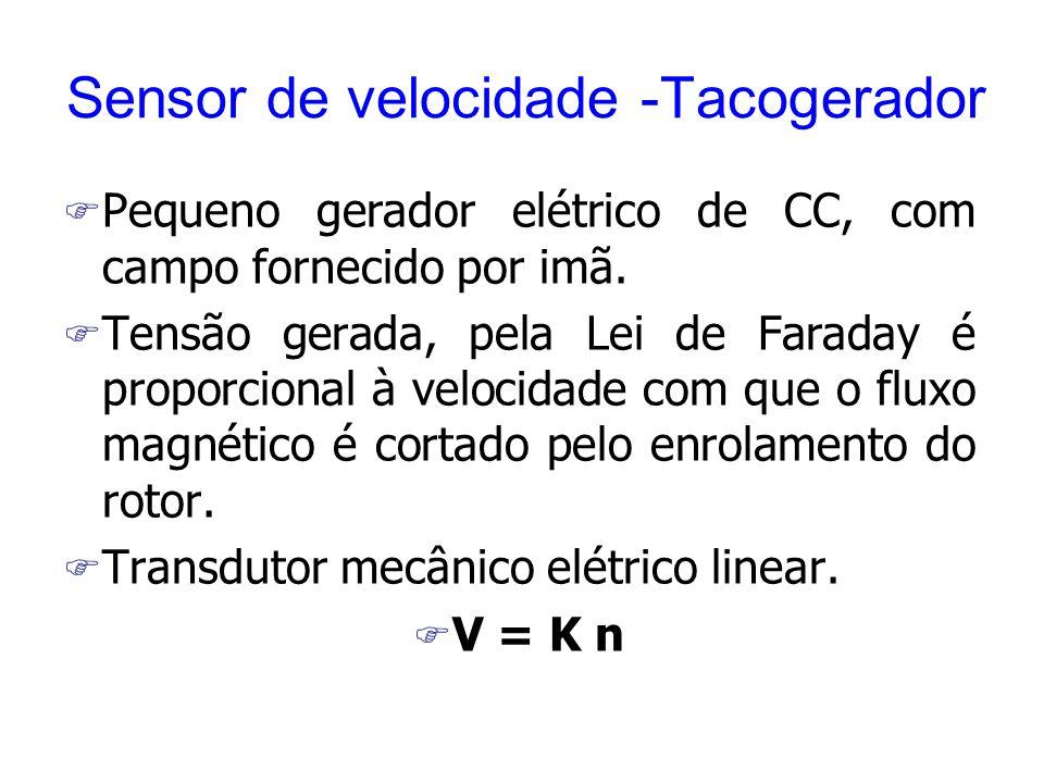 Sensor de velocidade -Tacogerador F Pequeno gerador elétrico de CC, com campo fornecido por imã. F Tensão gerada, pela Lei de Faraday é proporcional à