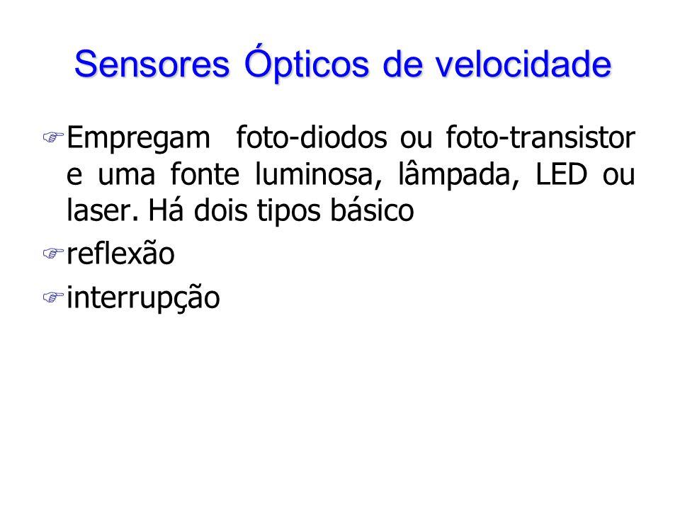 Sensores Ópticos de velocidade F Empregam foto-diodos ou foto-transistor e uma fonte luminosa, lâmpada, LED ou laser. Há dois tipos básico F reflexão
