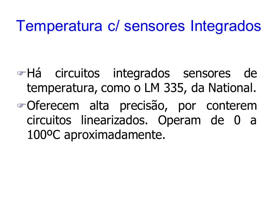 Temperatura c/ sensores Integrados F Há circuitos integrados sensores de temperatura, como o LM 335, da National. F Oferecem alta precisão, por conter