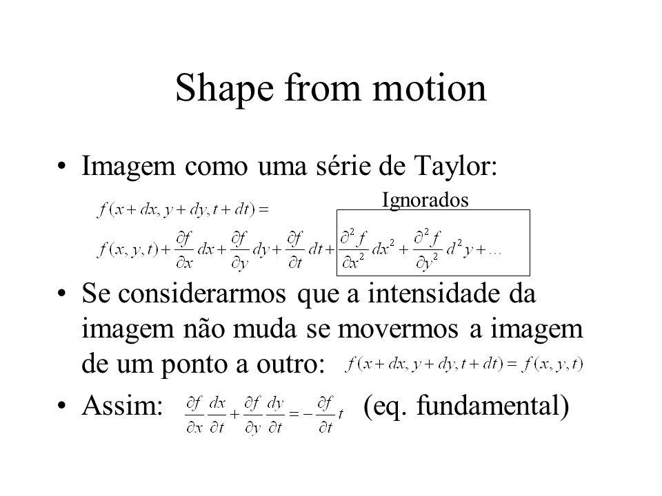 Shape from motion Imagem como uma série de Taylor: Se considerarmos que a intensidade da imagem não muda se movermos a imagem de um ponto a outro: Ass