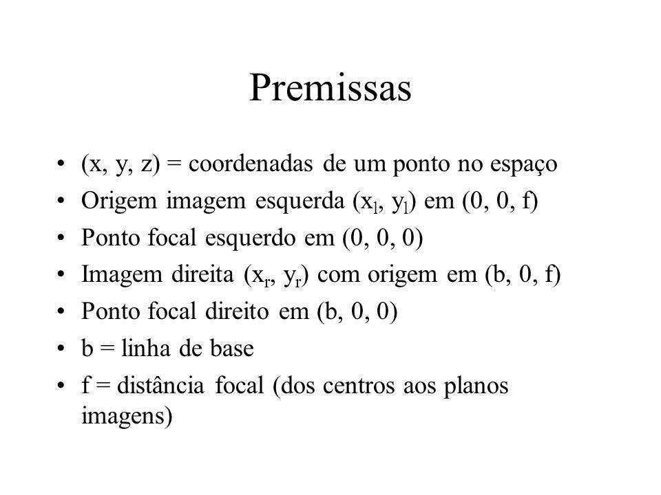 Premissas (x, y, z) = coordenadas de um ponto no espaço Origem imagem esquerda (x l, y l ) em (0, 0, f) Ponto focal esquerdo em (0, 0, 0) Imagem direi