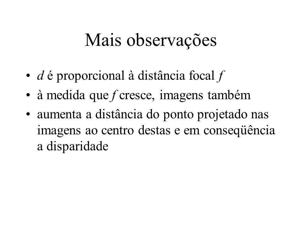 Mais observações d é proporcional à distância focal f à medida que f cresce, imagens também aumenta a distância do ponto projetado nas imagens ao cent