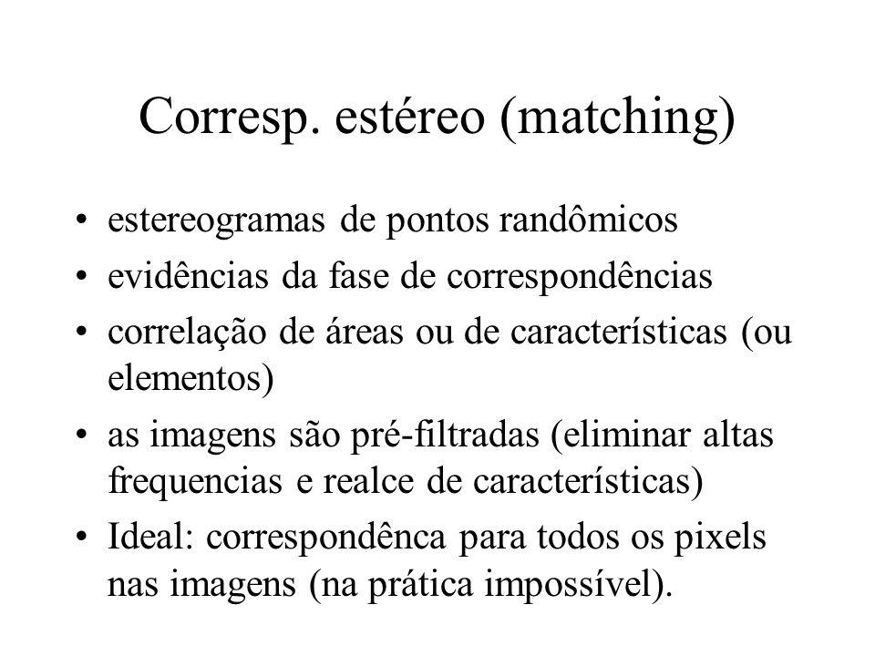 Corresp. estéreo (matching) estereogramas de pontos randômicos evidências da fase de correspondências correlação de áreas ou de características (ou el