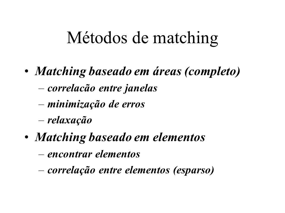 Métodos de matching Matching baseado em áreas (completo) –correlacão entre janelas –minimização de erros –relaxação Matching baseado em elementos –enc