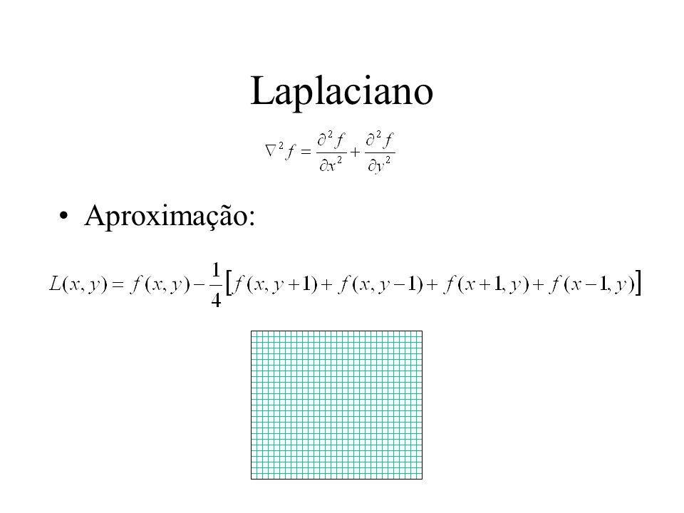 Problemas com o Laplaciano Informação direcional não disponível Aumenta o ruído nas imagens (duplica), lembre-se que é uma aproximação Prejudicado por picos e vales bruscos Solução: suavizar imagem antes com o gaussiano G => muitos cálculos.