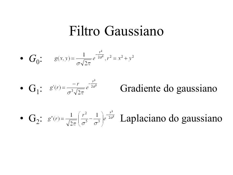 Exemplos de máscara gaussiana Normalized Gaussian (norma 1) (G 0 1D) double gn[3][7]={/*3 sigmas diferentes*/ {0.0000, 0.0003, 0.1065, 0.7866, 0.1065, 0.0003, 0.0000 }, {0.0513, 0.1219, 0.2049, 0.2436, 0.2049, 0.1219, 0.0513 }, {0.1063, 0.1403, 0.1658, 0.1752, 0.1658, 0.1403, 0.1063 }}; Normalized Gaussian first derivative (norma 1) (G 1 1D) double dgn[3][7]={/*3 sigmas diferentes*/ {0.0000, 0.0025, 0.4975,-0.0000,-0.4975,-0.0025,-0.0000 }, {0.1278, 0.2023, 0.1700,-0.0000,-0.1700,-0.2023,-0.1278 }, {0.2083, 0.1834, 0.1083,-0.0000,-0.1083,-0.1834,-0.2083 }}; Normalized LoG (by norma 1) (G 2 1D) double lgn[3][7]={ /*3 sigmas diferentes*/ { 0.0000, 0.0028, 0.2228,-0.5488, 0.2228, 0.0028, 0.0000 }, { 0.1320, 0.0570,-0.1629,-0.2962,-0.1629, 0.0570, 0.1320 }, {-0.0000,-0.1246,-0.2354,-0.2800,-0.2354,-0.1246,-0.0000 }};