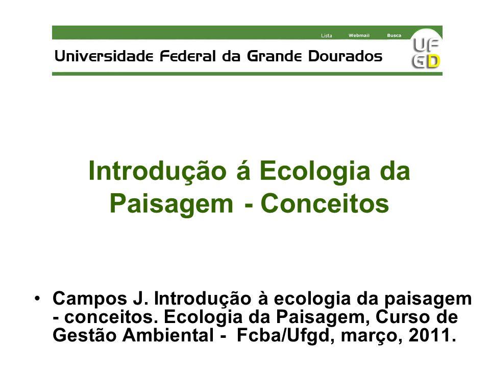 Introdução á Ecologia da Paisagem - Conceitos Campos J. Introdução à ecologia da paisagem - conceitos. Ecologia da Paisagem, Curso de Gestão Ambiental