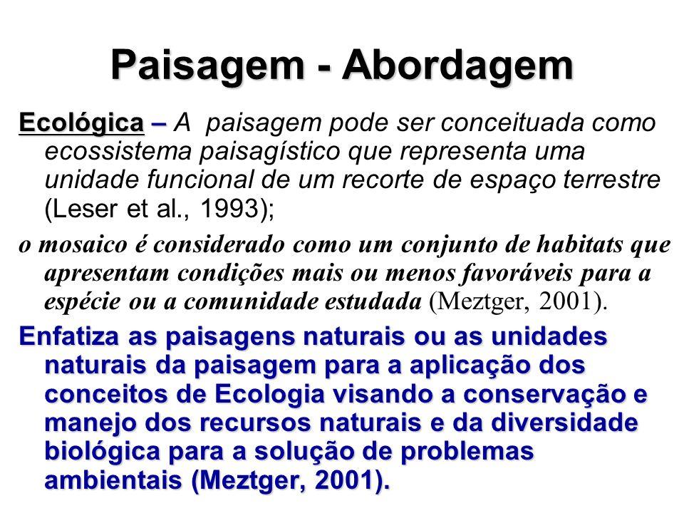 Paisagem - Abordagem Ecológica – Ecológica – A paisagem pode ser conceituada como ecossistema paisagístico que representa uma unidade funcional de um