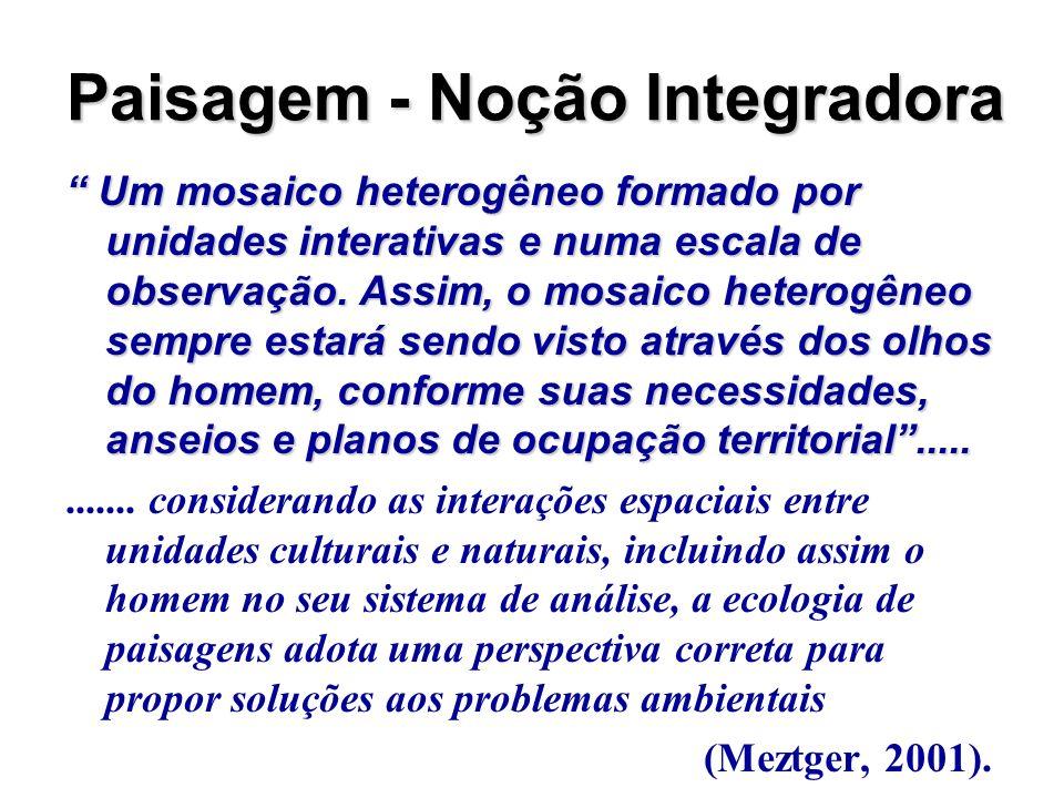 Paisagem - Noção Integradora Um mosaico heterogêneo formado por unidades interativas e numa escala de observação. Assim, o mosaico heterogêneo sempre