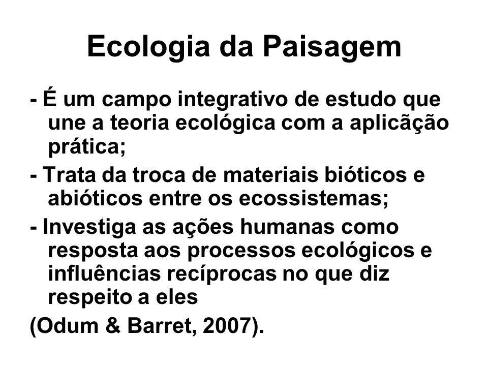Ecologia da Paisagem - É um campo integrativo de estudo que une a teoria ecológica com a aplicãção prática; - Trata da troca de materiais bióticos e a