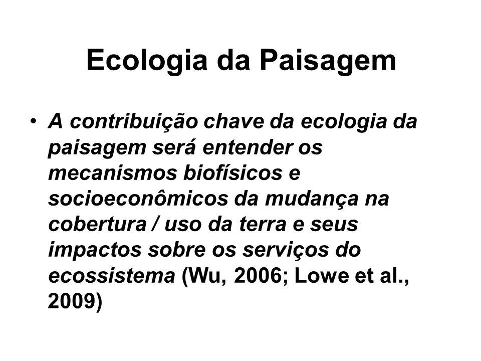 Ecologia da Paisagem A contribuição chave da ecologia da paisagem será entender os mecanismos biofísicos e socioeconômicos da mudança na cobertura / u
