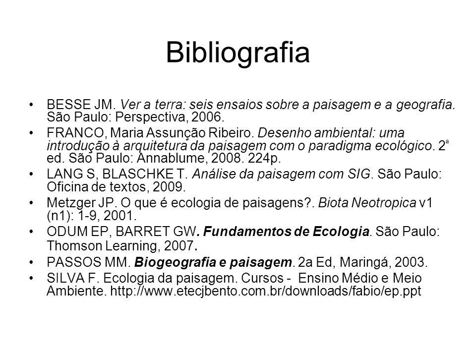 Bibliografia BESSE JM. Ver a terra: seis ensaios sobre a paisagem e a geografia. São Paulo: Perspectiva, 2006. FRANCO, Maria Assunção Ribeiro. Desenho
