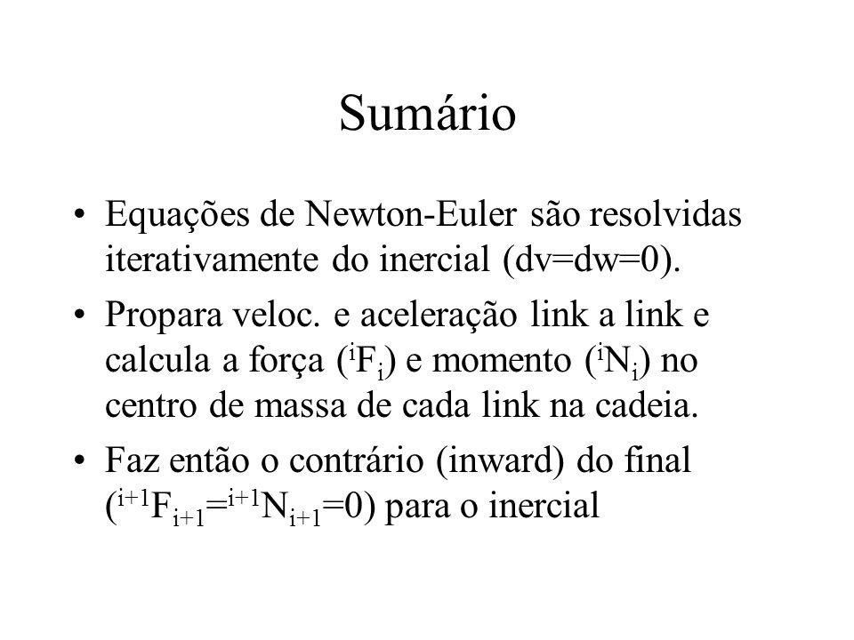 Sumário Equações de Newton-Euler são resolvidas iterativamente do inercial (dv=dw=0). Propara veloc. e aceleração link a link e calcula a força ( i F
