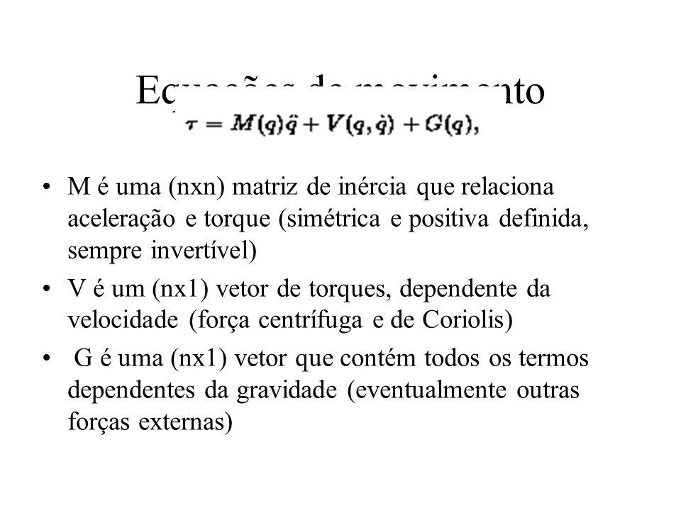 Equações de movimento M é uma (nxn) matriz de inércia que relaciona aceleração e torque (simétrica e positiva definida, sempre invertível) V é um (nx1