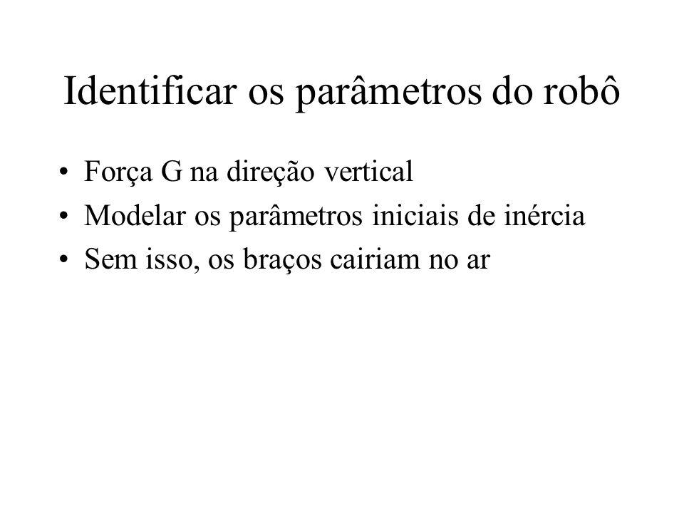 Identificar os parâmetros do robô Força G na direção vertical Modelar os parâmetros iniciais de inércia Sem isso, os braços cairiam no ar
