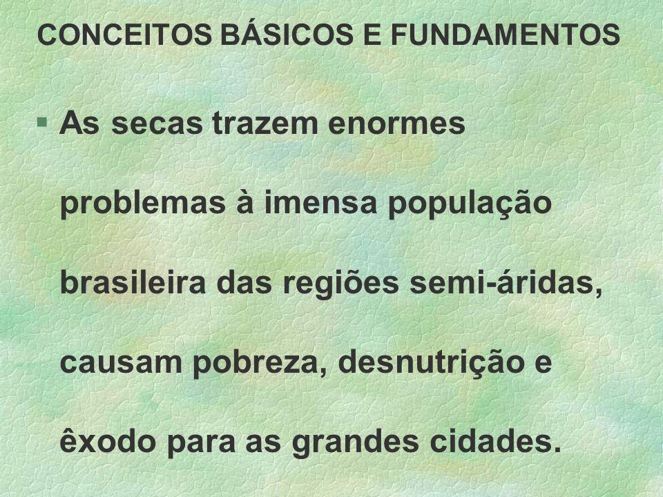 CONCEITOS BÁSICOS E FUNDAMENTOS §As secas trazem enormes problemas à imensa população brasileira das regiões semi-áridas, causam pobreza, desnutrição