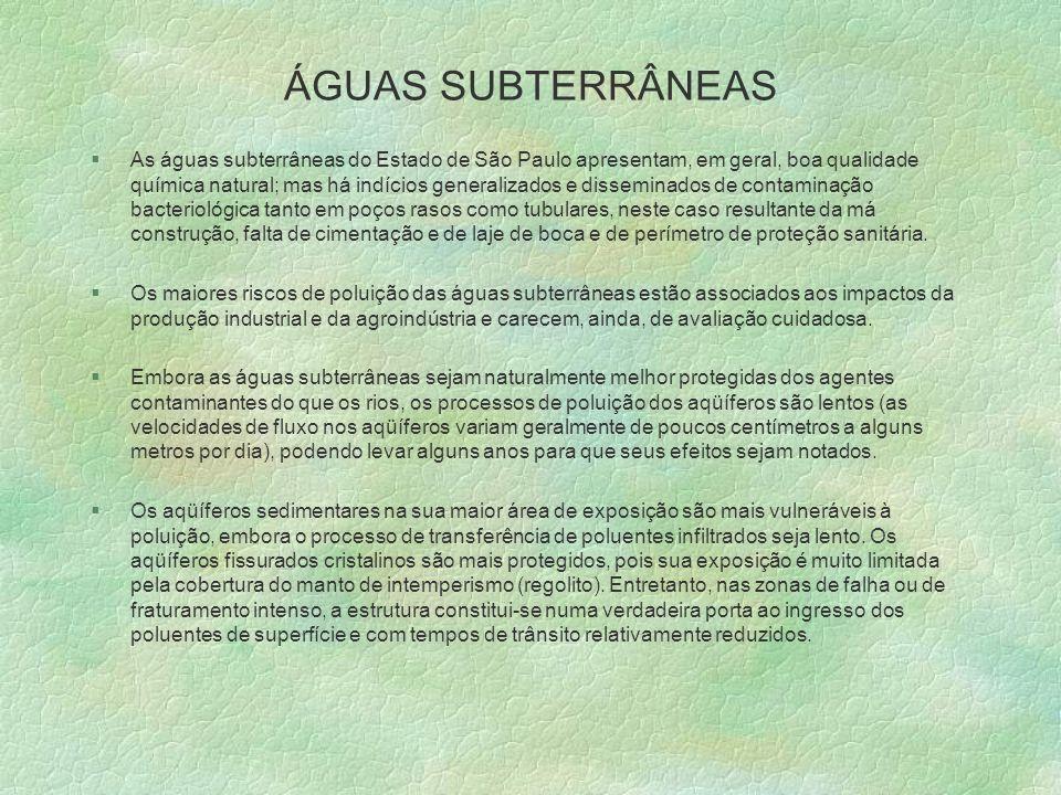 ÁGUAS SUBTERRÂNEAS §As águas subterrâneas do Estado de São Paulo apresentam, em geral, boa qualidade química natural; mas há indícios generalizados e