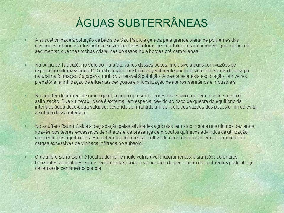 ÁGUAS SUBTERRÂNEAS §A suscetibilidade à poluição da bacia de São Paulo é gerada pela grande oferta de poluentes das atividades urbana e industrial e a