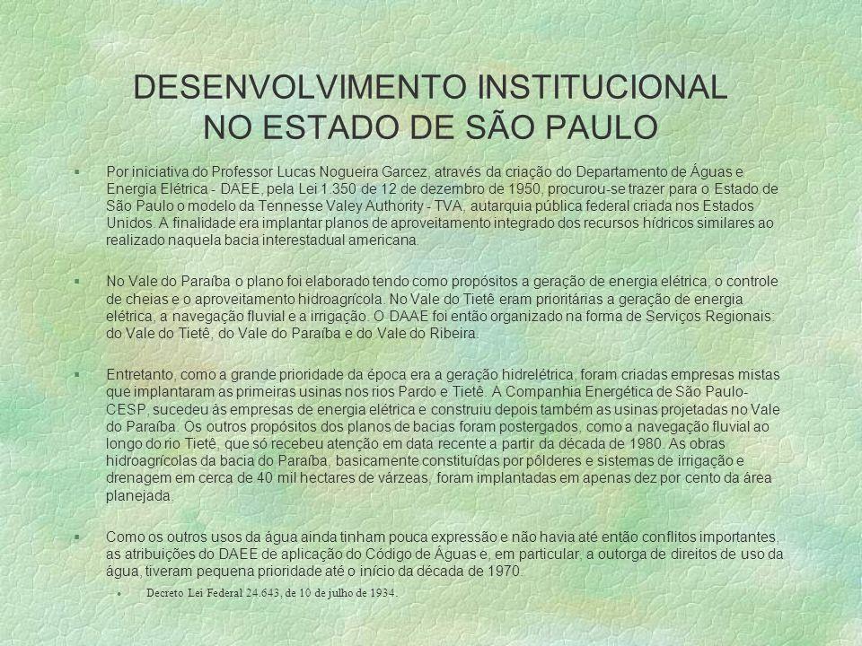 DESENVOLVIMENTO INSTITUCIONAL NO ESTADO DE SÃO PAULO §Por iniciativa do Professor Lucas Nogueira Garcez, através da criação do Departamento de Águas e